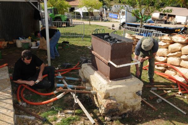 Installation du bas-fourneau